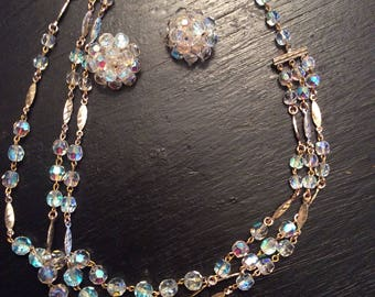 Iridescent beaded necklace and clip on earring set