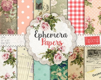 "Vintage ephemera : ""Ephemera papers"" vintage digital paper for decoupage, scrapbooking, card making and crafts, french digital paper"