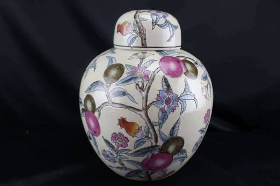 Vintage Chinese Ginger Pot Purple Plum Branch Blossoms and Fruit 10""