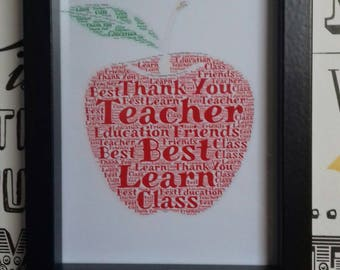 Thank You Teacher Gift, Typography Frame, Apple Teaching Gift, Teachers Apple, Traditional Style Gifts, Red Apple Word Art, Educational Gift