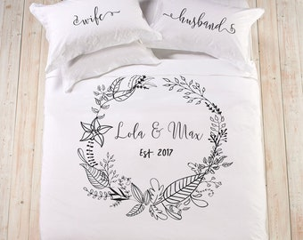 Personalized wedding established gift bedding set king queen double full gift cotton anniversary gift flowers duvet cover gift for couple