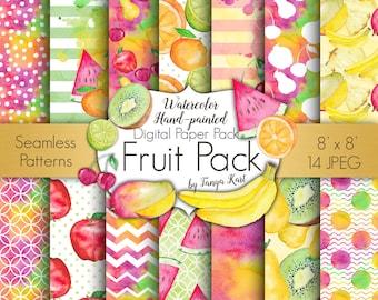 Fruit Digital Paper Pack, Fruits Digital Paper, Watercolor Digital Paper, Planner Stickers Paper, Colorful Paper, Bright Paper, banana, kiwi