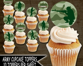 ARMY PARTY, Army Birtthday, Army Party Supplies, Paintball Party, Paintball Birthday, Army Cupcake Toppers, Paintball Cupcake toppers