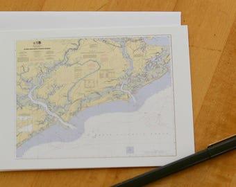 """Stono & North Edisto Map Note Cards 4.25""""x5.5"""""""