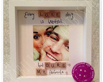 Every love story is beautiful  Scrabble inspired frame