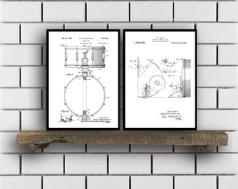 Drum Patents Set of 2 Prints, Drum Prints, Drum Posters, Drum Blueprints, Drum Art, Drum Wall Art, Sp312