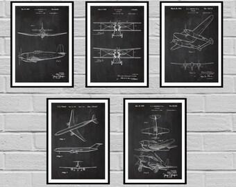 Airplane blueprint etsy airplane patent set of 5 aircraft poster airplane art aviation decor airplane malvernweather Gallery