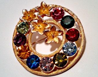 Vintage Circle Pin Brooch, Gold Tone Flowers, Fruit Salad Rhinestones, Mid Century, Circa 1960s, Includes Gift Box
