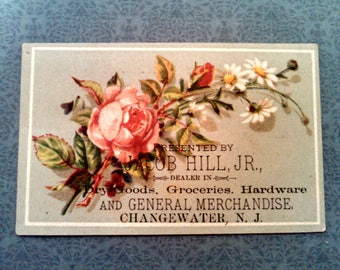 Antique Victorian Trade Card with Roses, New Jersey General Merchandise Store, Jacob Hill, Collectible Lithograph Advertisement, Circa 1890s
