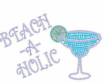 "Beach, Margarita, Beer, Wine, Drink, Cruise, Vacation, Social, Bling, Diva, Rhinestone ""Beach A Holic"" T-Shirt"