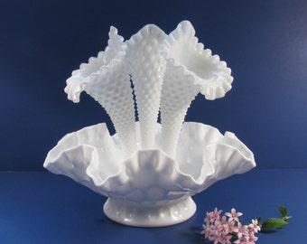 Beautiful Vintage Fenton Milk Glass Epergne - Hobnail and Olde Virginia Thumbprint!