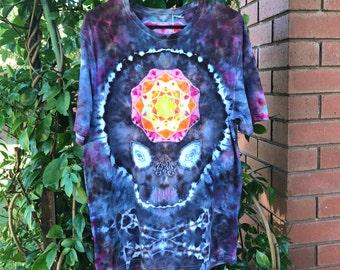 Mens Size Large Skull Mandala Tie dye