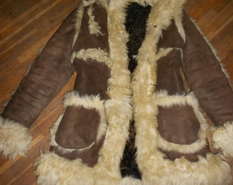 Crazy Funky lovely sheepskin hippie coat s/m reduce price