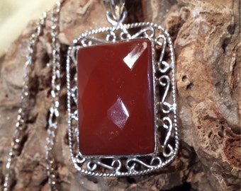 Sterling silver carnelian pendant with sterling silver chain