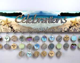 Celebrations, Birthday board, beach, ocean, starfish, reminder board, sandy shore