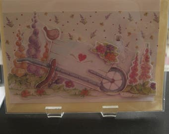 Wheelbarrow and Garden  Handmade Card