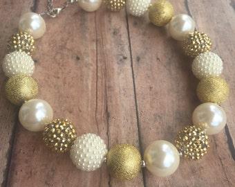 Bubblegum Necklace - Girls chunky bubblegum necklace - Cream and gold necklace - Gold Sparkle necklace - Chunky Necklace - Gold necklace