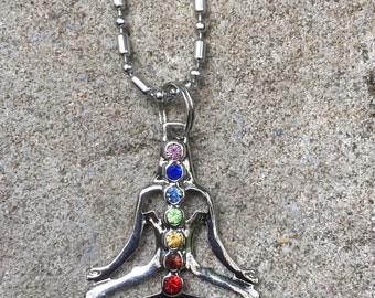 Silver Chakra 7 Crystals Reiki Healing Point Pendant With Chain Necklace