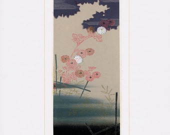 Original japanese antique woodcut print, Matsumura Suiho, Kimono design.