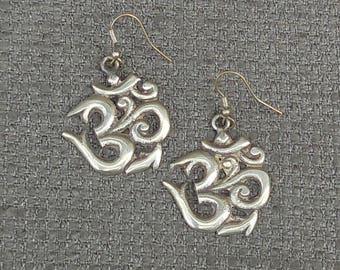 Wonderful OM Or AUM Vintage EARRINGS...Ancient Indian Sanskrit Mantra...Retro Hindu Buddhist White Metal Jewellery..Hippy Chick Ethnic Chic!