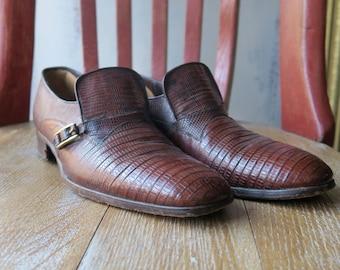 Alligator Embossed Leather Loafers