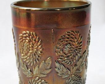 Goblet glass iridescent Fenton pattern Ten Mums (USA) reserved Janice