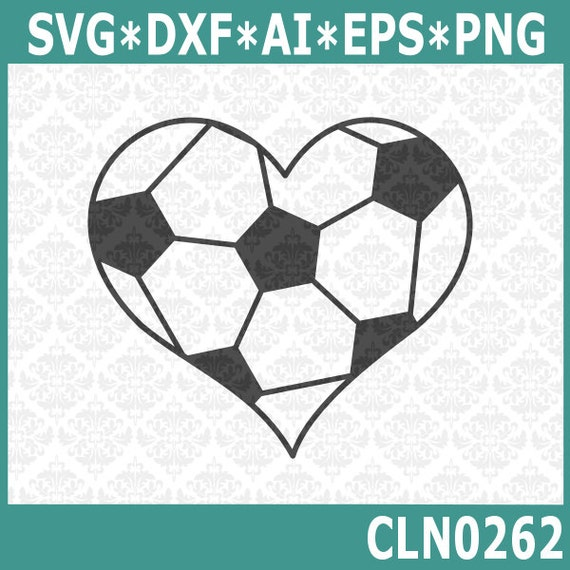 CLN0262 Soccer Ball Heart Sport Player Sports Love Balls SVG DXF Ai Eps PNG Vector Instant Download Commercial Cut File Cricut Silhouette