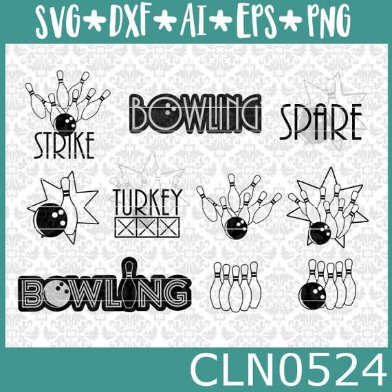 CLN0524 Bowling Bowler Bowl League Spare Strike Turkey Set SVG DXF Ai Eps PNG Vector Instant Download Commercial Cut File Cricut Silhouette