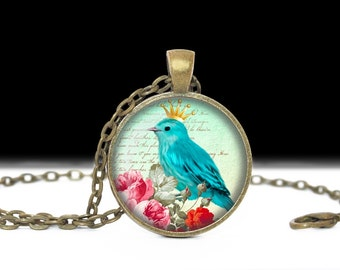 Bird Jewelry Blue with Crown Bird Necklace Gift for Her Blue Bird Jewelry