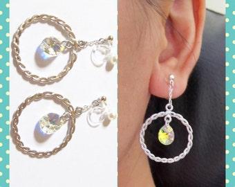 Swarovski Crystal Clip On Earrings  5D  AB Clear Teardrop Rhinestone Clip earrings Wedding Clip On Dangle Clip On Earring Matte Silver Hoop