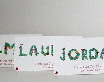 Handmade Personalised Christmas Money/Voucher/Gift Wallet 2017 Customised with any names or names of your choice