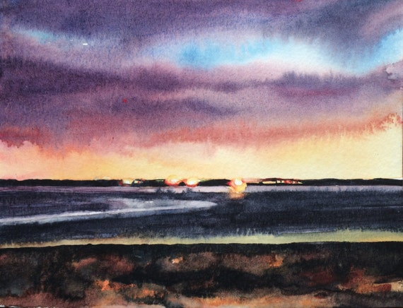 Morecambe Bay, Sunset painting, Cumbria, Sea painting, English coast, Morecambe bay sunset, Landscape painting