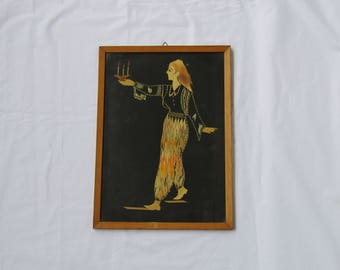 Beautiful old framed straw art work presenting a woman holding candles, wall art, wall vintage decor, rare straw art, vintage straw art
