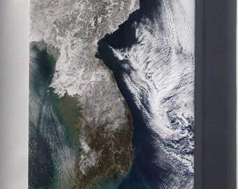 Canvas 24x36; Satellite Image Map China, North Korea,  Parts Of South Korea