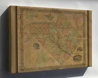 Canvas 24x36; Map Of Berks County, Pennsylvania 1854