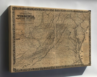 Canvas 24x36; Topography Map Virginia Maryland Delaware 1862