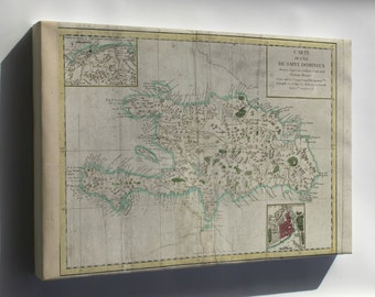 Canvas 16x24; Map Of Hispaniola 1780