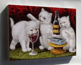Canvas 16x24; Three Jolly Kittens, 1871 Currier And Ives
