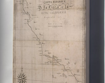 Canvas 16x24; Map Of California 1839