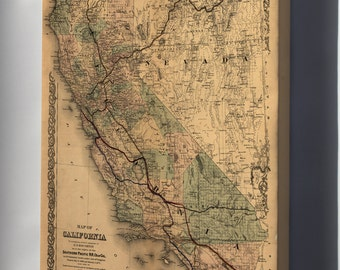 Canvas 16x24; Map Of California 1876