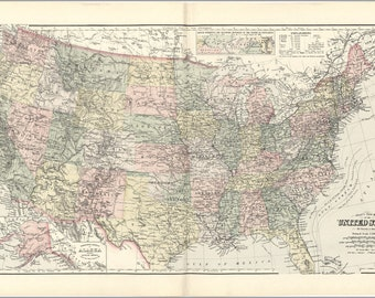 16x24 Poster; Gray'S New Map Of The United States Of America 1893