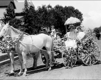 16x24 Poster; Horse-Drawn Wagon Decorated With Flowers For La Fiesta De Los Angeles (Chs-997) #031715