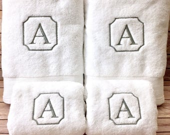 Monogrammed single letter bath towels; Machine embroidered; towel set; Decorative towel set; Housewarming or wedding gift; Bathroom decor