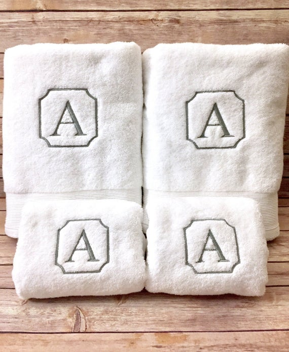 Monogram Towels For Bathroom: Monogrammed Single Letter Bath Towels Machine Embroidered