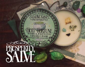 Prosperity Anointing Balm *Holy Fortune* with Essential Oils, herbs and crystals -Basil, Ginger, Patchouli, Vanilla & Amazonite (2.1 oz)
