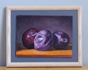 Three Plums Original Framed Oil Painting Still Life by Aleksey Vaynshteyn