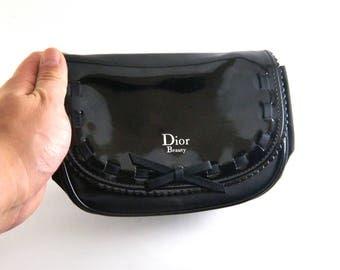 Christian Dior Bag, Parfum Make Up Bag, Designer Purse, Cosmetic Bag, Vanity Storage, Accessory Case black Clutch