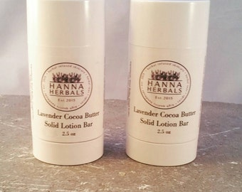 Lavender Cocoa Butter Lotion Bar - Organic Lotion Bar - Travel Lotion Bar - Lavender Essential Oils - Solid Lotion Bar