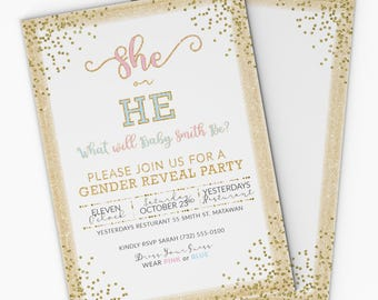 gender reveal invitation white and gold 5x7 she or he gender reveal party - Free Printable Gender Reveal Party Invitations