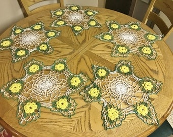 Doily Set of 5 Green Yellow and White Vintage Crocheted